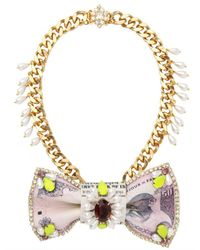 Bijoux De Famille - Purple Colaba Leather and Brass Necklace - Lyst