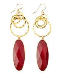 Devon Leigh - Red Ruby Quartz Chain Drop Earrings - Lyst