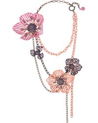 Lanvin | Metallic Crystal and Enamel Floral Necklace | Lyst