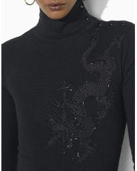Lauren by Ralph Lauren | Black Petites Merino Embroidered Dress | Lyst