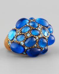 Oscar de la Renta | Pave Cabochon Crystal Ring Blue | Lyst