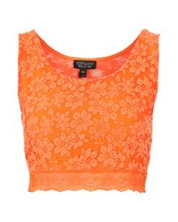 TOPSHOP | Orange Lace Crop Top | Lyst