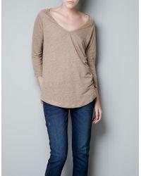 Zara | Brown Tshirt | Lyst