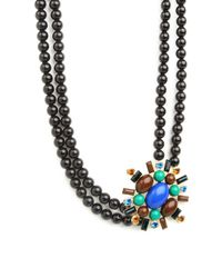 BaubleBar - Blue Druzy Ball Chain Pendant Necklace - Lyst