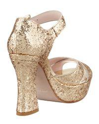 Miu Miu Metallic Glitter Crisscross Mary Jane Sandal