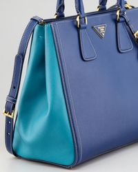 Prada | Blue Saffiano Bicolor Tote Bag | Lyst