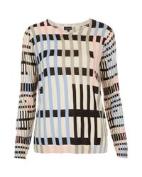 TOPSHOP - Multicolor Knitted Graphic Print Jumper - Lyst