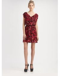 Alice + Olivia - Red Belinda Abstract Cowl Dress - Lyst