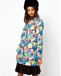 ASOS Collection | Multicolor Asos Floral Printed Coat | Lyst