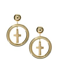 ASOS - Metallic Cross Charm Doorknocker Earrings - Lyst