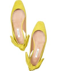 Carven - Yellow Flat Suede Slingbacks - Lyst