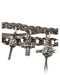 Emanuele Bicocchi - Metallic Woven Silver Cross Pendants Bracelet for Men - Lyst