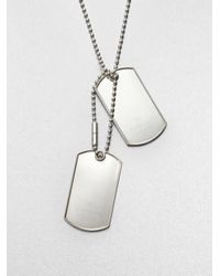 Gucci - Metallic Double Tag Sterling Silver Necklace - Lyst