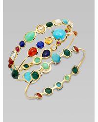 Ippolita - Metallic 18k Gold Semi-precious Multi-stone Bangle Bracelet - Lyst