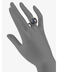 Judith Ripka - Blue Quartz Hematite Doublet Cushion Stone Ring - Lyst