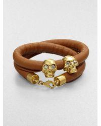 Alexander McQueen - Black Double Wrap Leather Double Skull Bracelet - Lyst