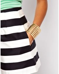 ASOS - Metallic Cut Out Stripe Cuff Bracelet - Lyst