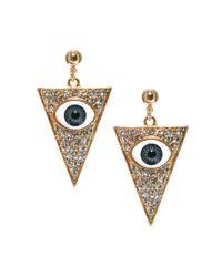 ASOS - Multicolor Eye Triangle Earrings - Lyst