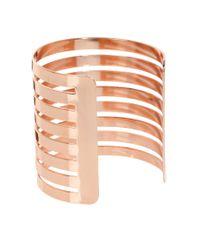 ASOS - Metallic Cut Out Stripe Cuff Bracelet - Lyst