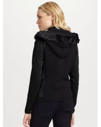 Elie Tahari - Black Fur & Leather Trimmed Knit Vest - Lyst