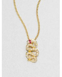 Elizabeth and James | Metallic White Sapphire Snake Pendant Necklace | Lyst