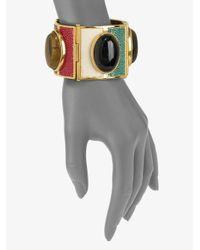 Fendi - Stone Accented Multicolor Stingray Leather Cuff - Lyst