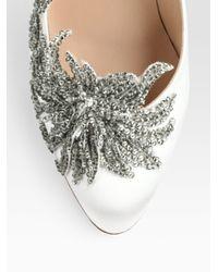 Manolo Blahnik - White Embellished Satin Point Toe Pumps - Lyst