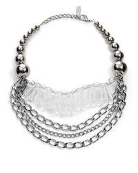 Max Mara - Metallic Ball Oval Necklace - Lyst