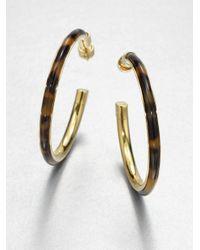 Michael Kors - Metallic Tortoise Print Hoop Earrings - Lyst