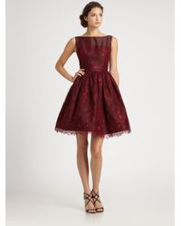 ML Monique Lhuillier - Red Lace Overlay Dress - Lyst