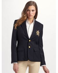 Ralph Lauren Blue Label | Black Custom Wool Crested Blazer | Lyst