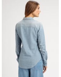 See By Chloé - Blue Chambray Cotton Shirt - Lyst