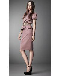 Burberry Purple Puff Sleeve Peplum Dress