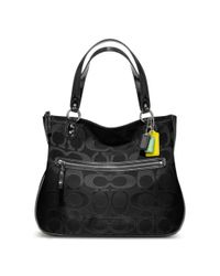 COACH | Black Poppy Signature Metallic Outline Hallie Tote | Lyst