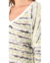 Free People White Marled Songbird Pullover