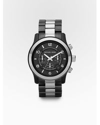 michael kors gunmetal chronograph watch for men lyst michael kors men s gunmetal chronograph watch