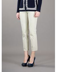 Tory Burch | Green Cropped Jeans | Lyst