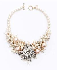 Ann Taylor - Metallic Large Pearlized Bead and Crystal Statement Necklace - Lyst