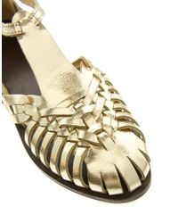 ASOS Metallic Francesca Leather Flat Sandals