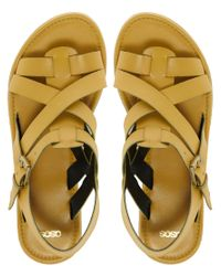 ASOS - Yellow Asos Folly Leather Flat Sandals - Lyst