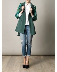 Boy by Band of Outsiders - Green Printed Sleeve Trench Coat - Lyst