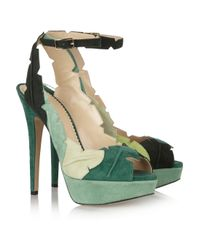 Charlotte Olympia Green Suede Sandals