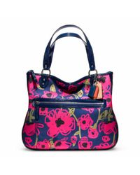 COACH - Blue Poppy Floral Print Hallie Tote - Lyst