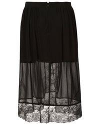 TOPSHOP Black Lace Split Front Skirt