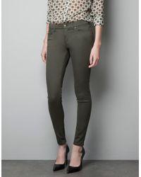 Zara | Natural Skinny Pants | Lyst