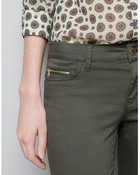 Zara | Khaki Skinny Pants | Lyst