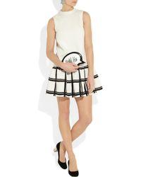 Tibi White Checked Cotton-crepe Dress