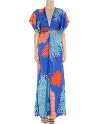 Issa   Blue Printed Silk Kimono Maxi Dress   Lyst