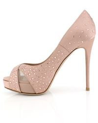 Valentino - Pink Poudre Satin Crystal Pump - Lyst