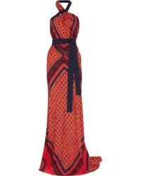Vionnet | Orange Printed Stretch-silk Gown | Lyst